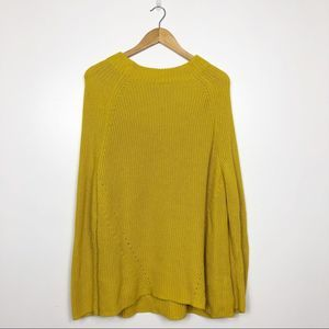 LAND'S END | Yellow Mock Neck Chunky Knit Sweater